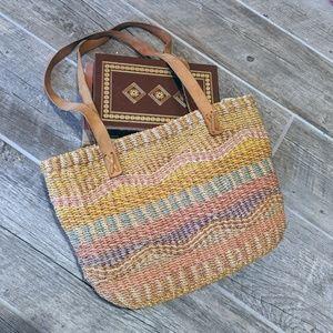 Vintage Sisal Striped Market bag leather straps